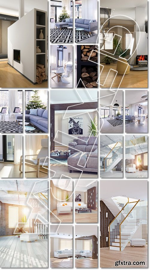 Interior with window wall system - Stock photo