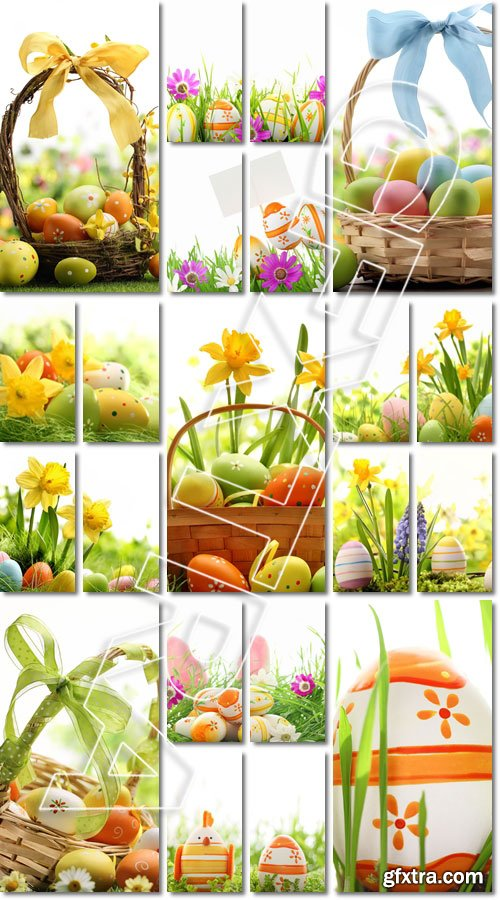 Easter Decoration. Basket of easter eggs on meadow - Stock photo