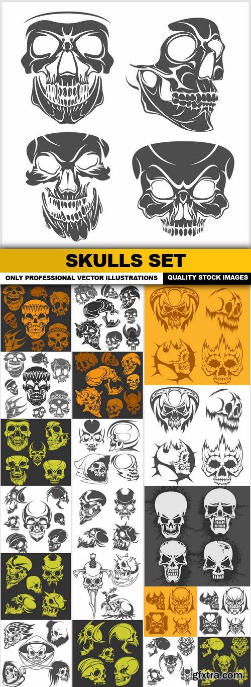 Skulls Set - 15 Vector