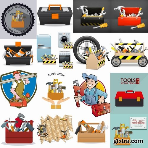 Collection of box tool vector image 25 EPS