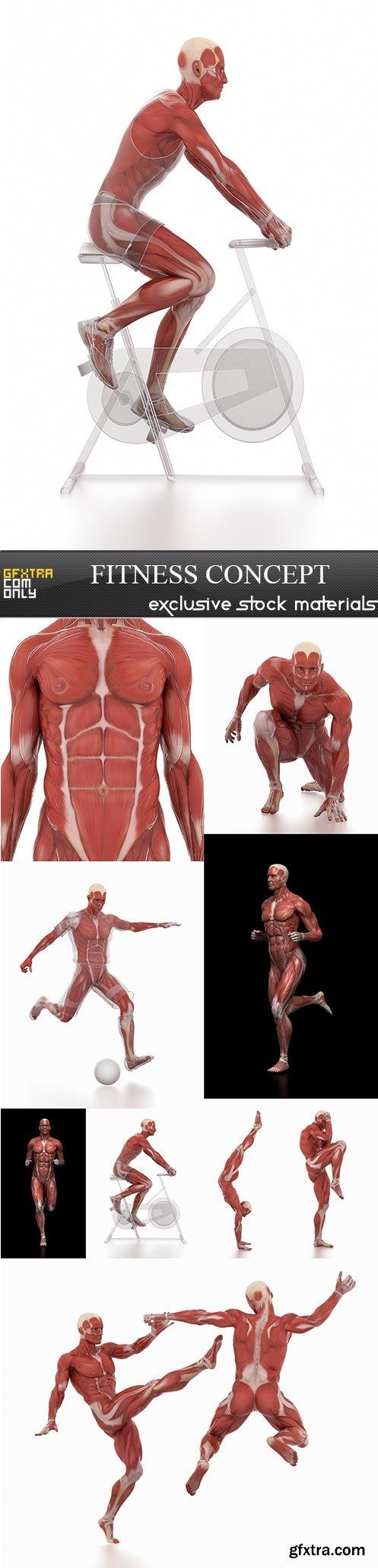 Fitness concept, 9 x UHQ JPEG