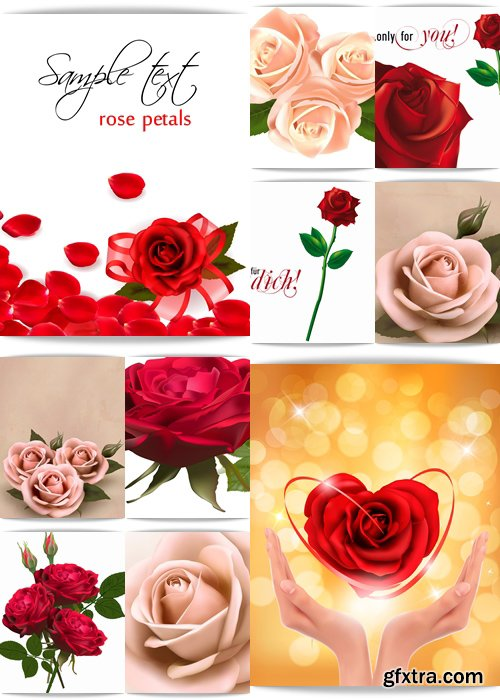 Background with beautiful rose, beautiful pink flowers with leaves, photo-realistic, retro pink rose with buds - Vektor photo