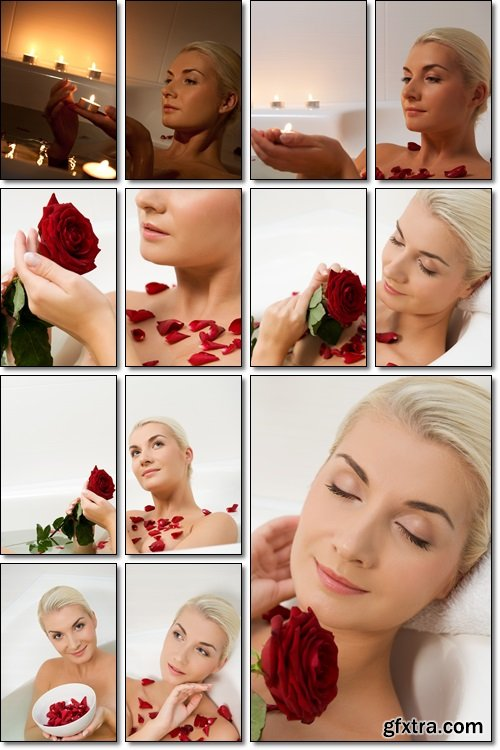Beautiful young girl taking a bath by candlelight with roses - Stock photo