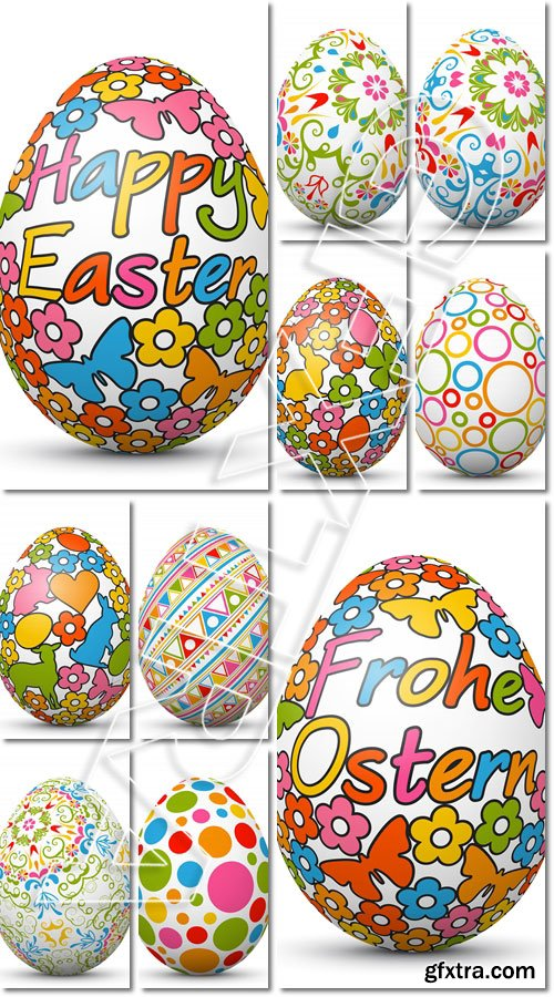 Colored 3D Vector Easter Egg with Holiday Season Symbols. Isolated Illustration - Vector