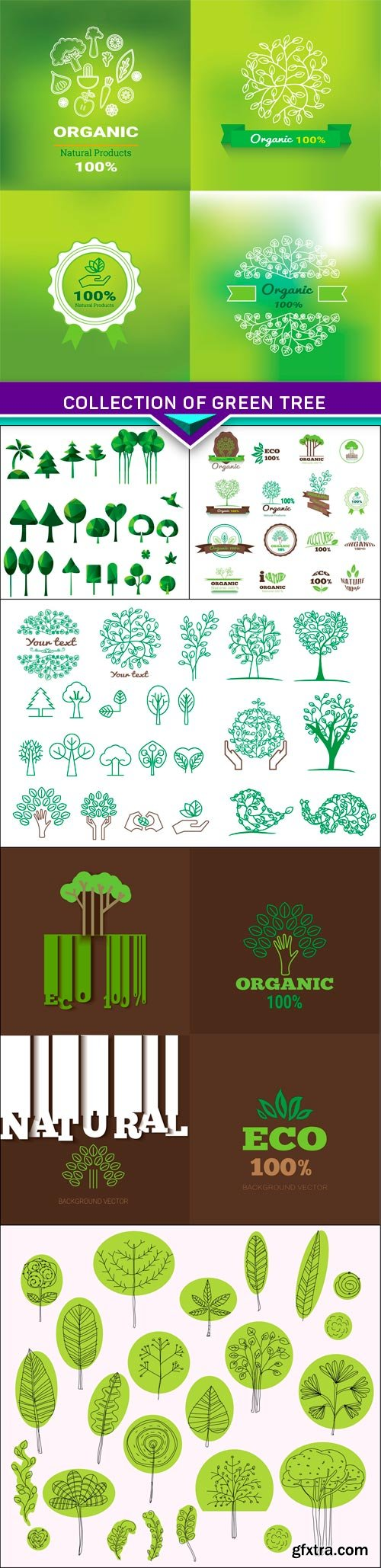 Collection of green tree , logos and icons 6x EPS