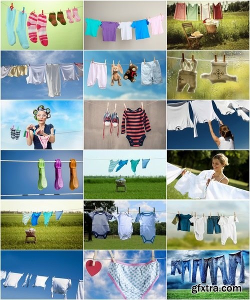 Collection of linen rope for drying things 25 HQ Jpeg
