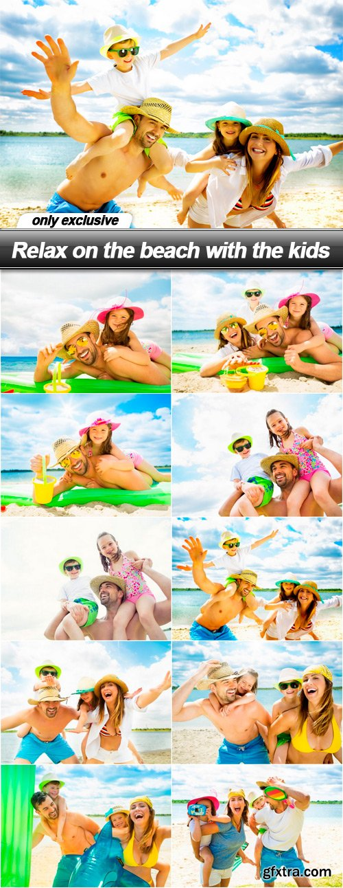 Relax on the beach with the kids - 10 UHQ JPEG