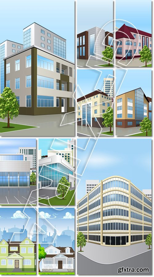 Office building with the entrance and a reflection on the background of the street - Vector