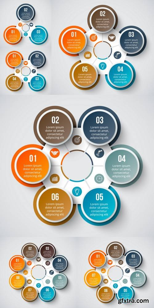 Vector Circle Element for Infographic. Template for Cycle Diagram, Graph, Presentation and Tound Chart