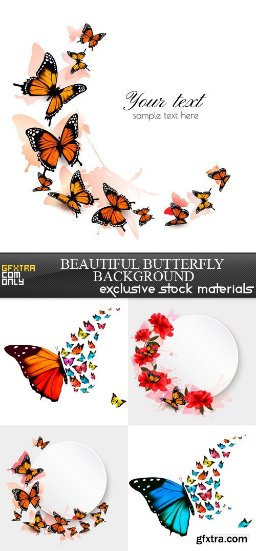 Beautiful Butterfly Background - 5 EPS
