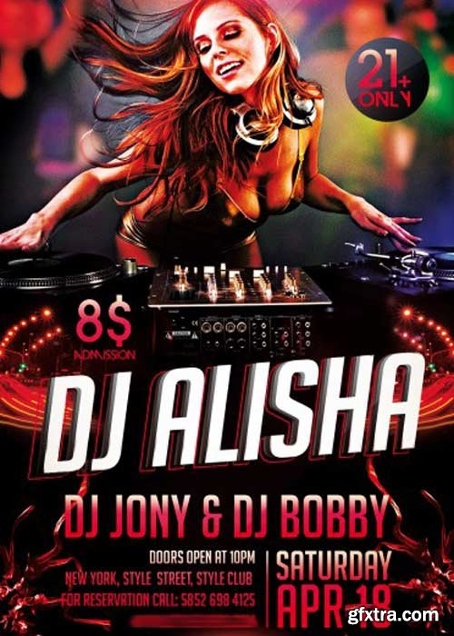 Dj Alisha Party PSD Flyer Template