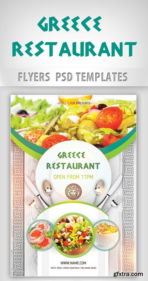 Greece Restaurant Opening Flyer PSD Template + Facebook Cover