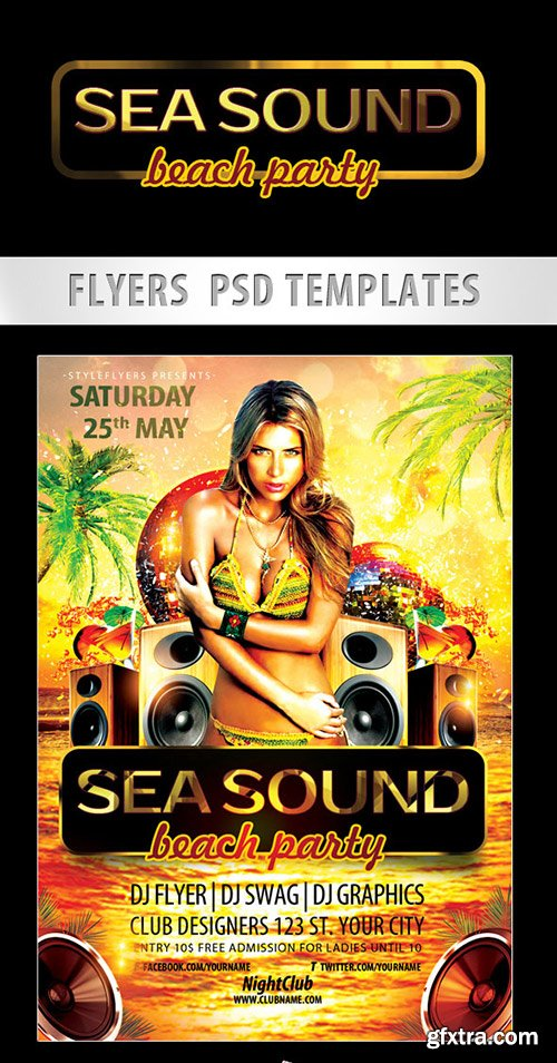 Sea Sound – Beach Party Flyer PSD Template + Facebook Cover