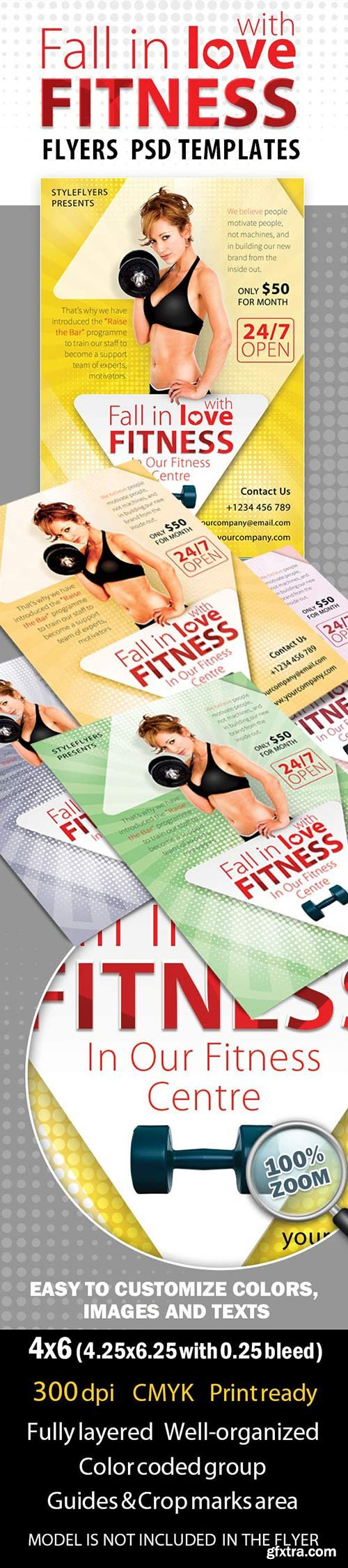 Fitness Love Flyer PSD Template + Facebook Cover