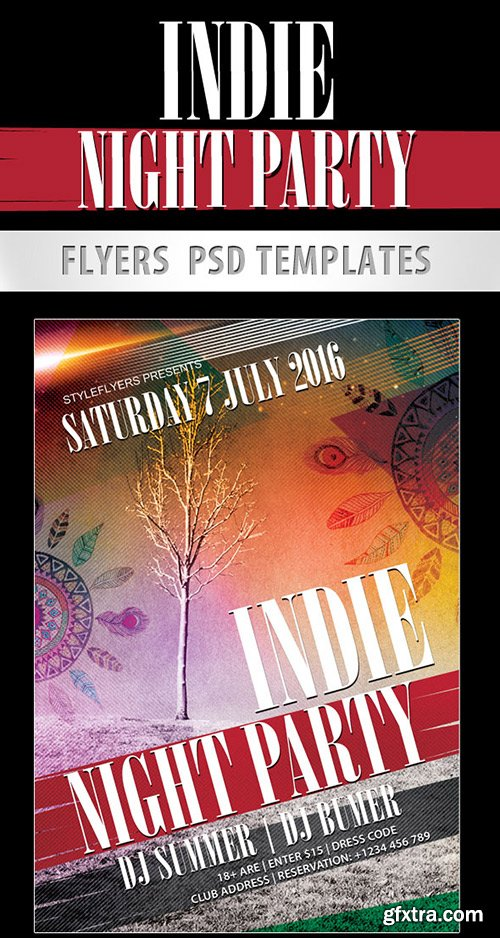 Indie Night Party Flyer PSD Template + Facebook Cover