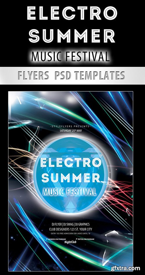 Electro Summer Music Festival PSD Template + Facebook Cover