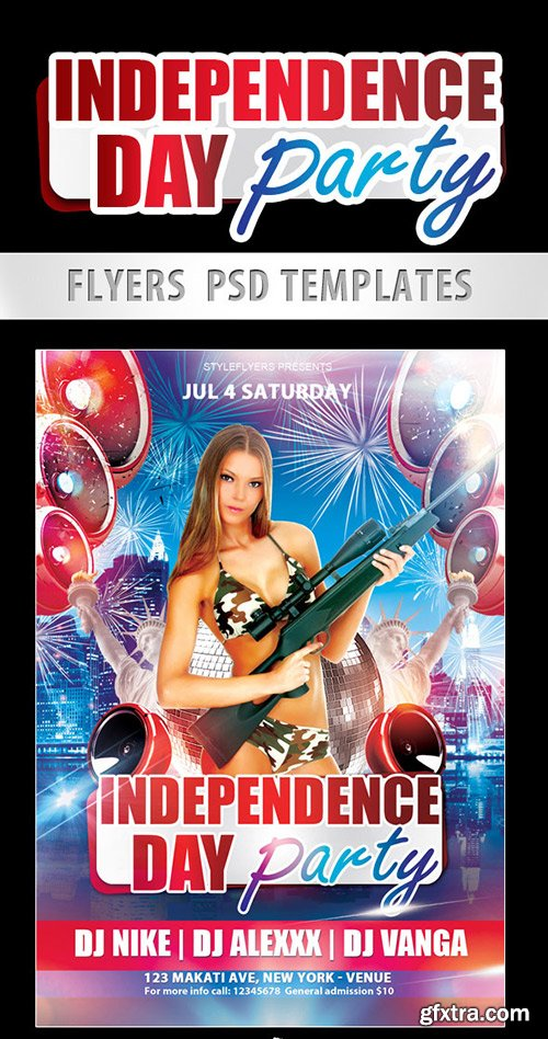 Independence Day Party Flyer PSD Template + Facebook Cover