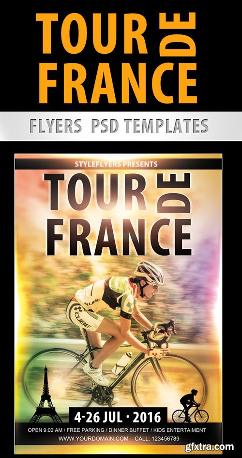 Tour de France Flyer PSD Template + Facebook Cover