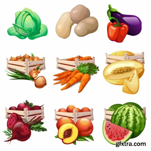 Collection of different food icon vector image 25 EPS