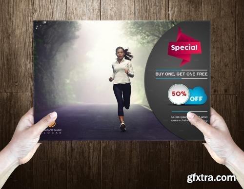 CreativeMarket Fitness Post Card Template 589162