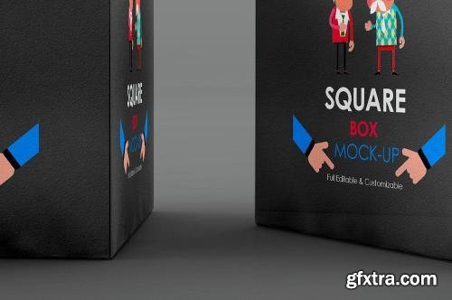 CreativeMarket Square Box Mock-Up 589027