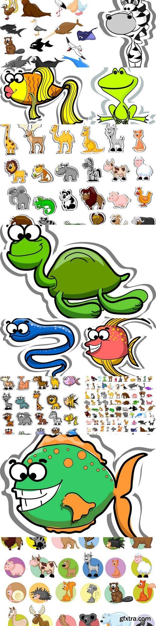Cartoon animals and fish