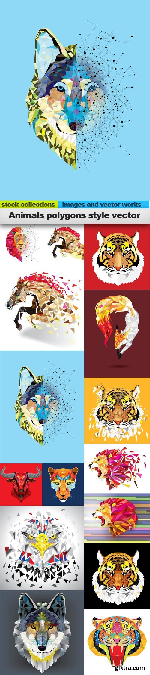 Animals polygons style vector, 15 x EPS