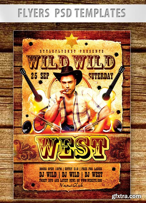 Wild Wild West Party Flyer PSD Template + Facebook Cover