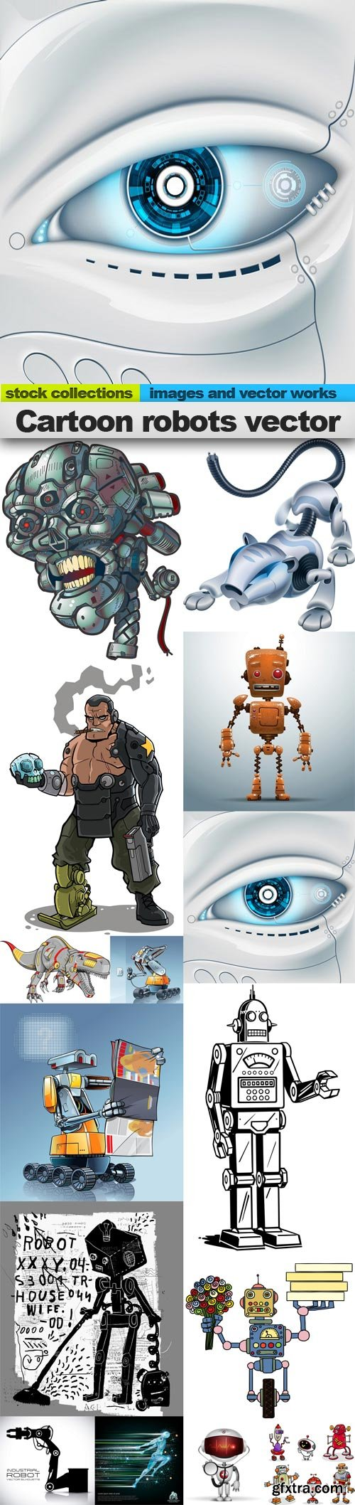Cartoon robots vector, 15 x EPS