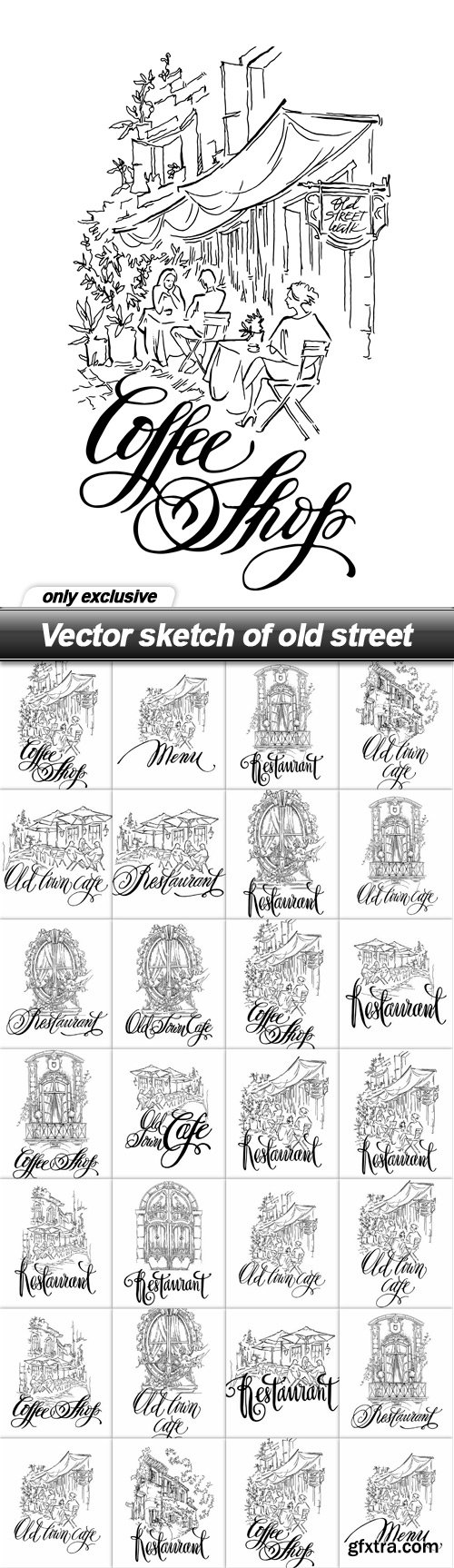Vector sketch of old street - 26 EPS