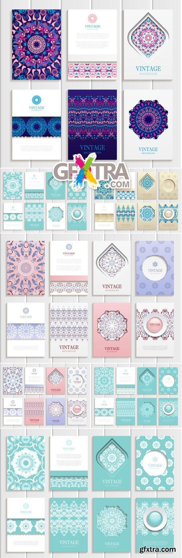 Vintage Oriental Style Cards Vector