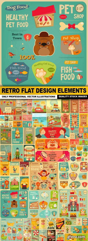 Retro Flat Design Elements - 20 Vector