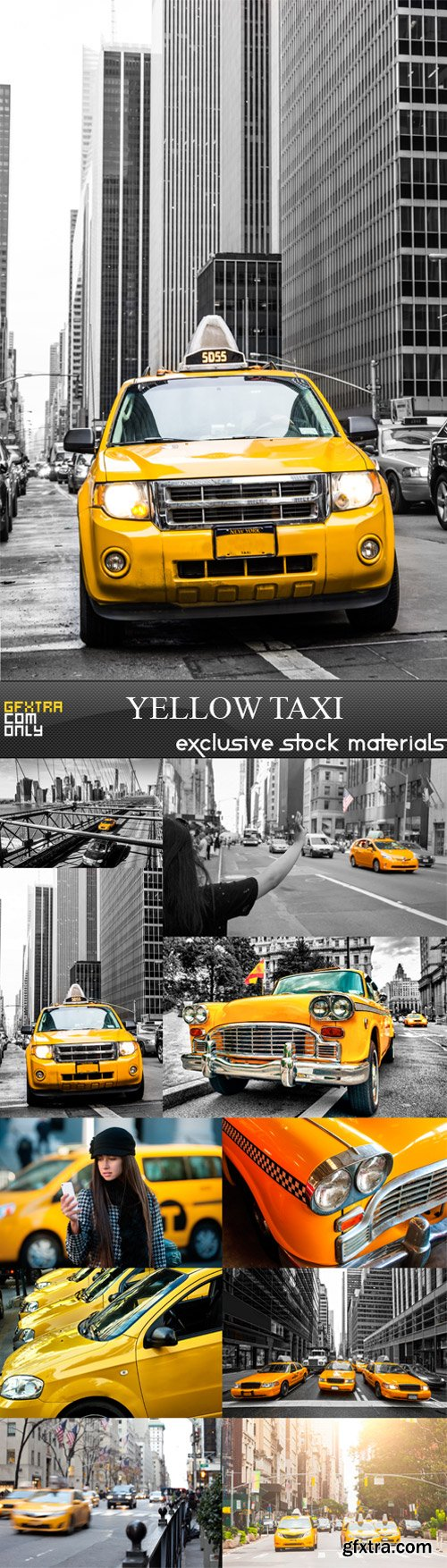 Yellow Taxi - 10 x JPEGs