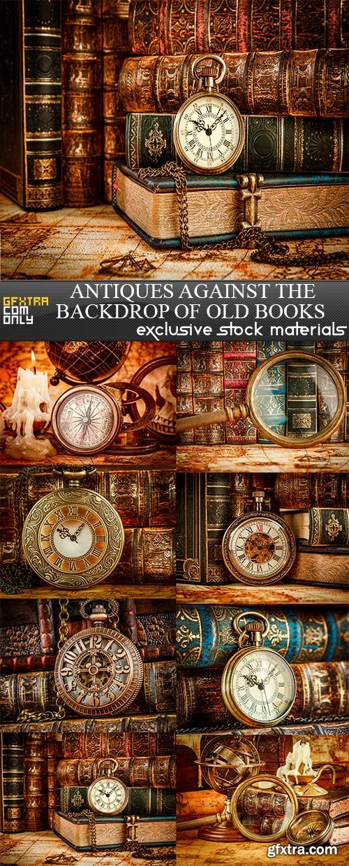 Antiques against the backdrop of old books, 8  x  UHQ JPEG