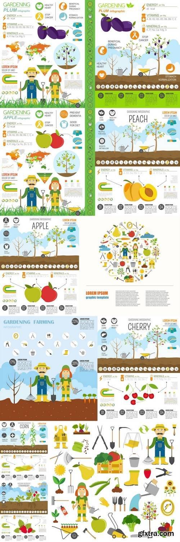 Gardening Work, Farming Infographic