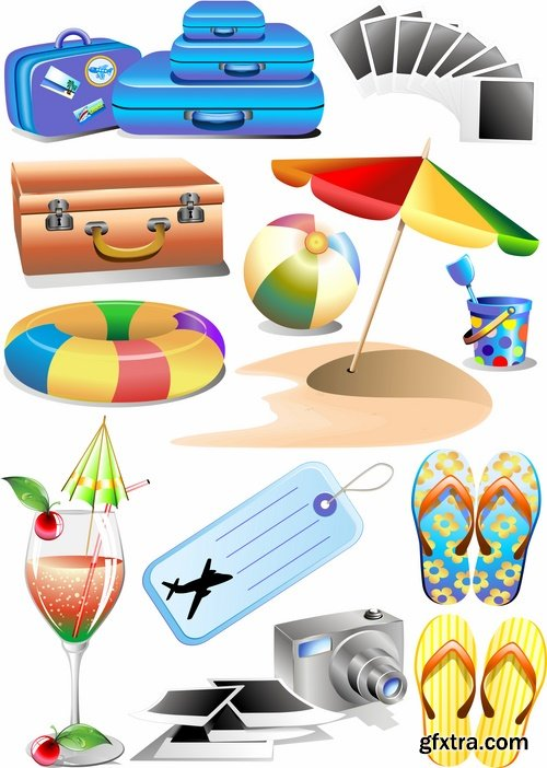 Collection of tourism objects things for travel 25 EPS