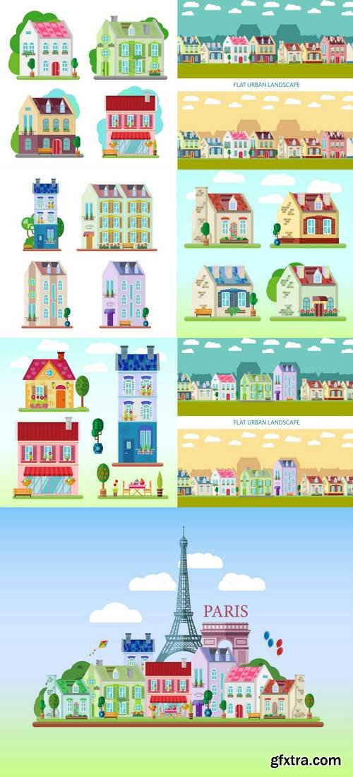 Set of Detailed Colorful Houses - Flat Style Buildings
