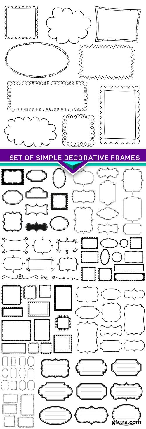 Set of simple decorative frames 10x EPS