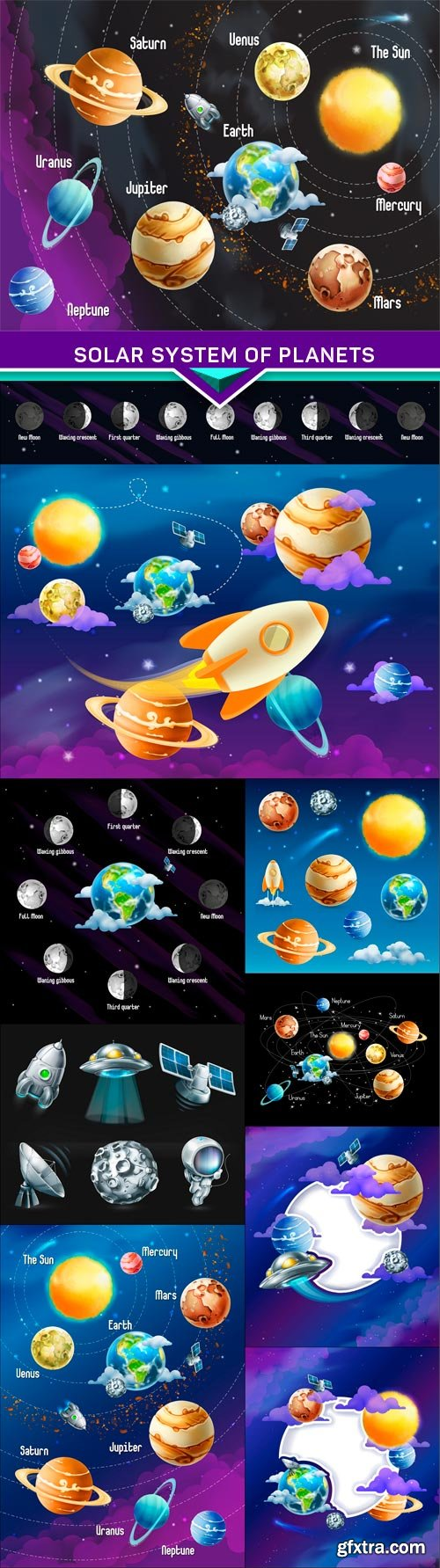 Solar system of planets 10x EPS