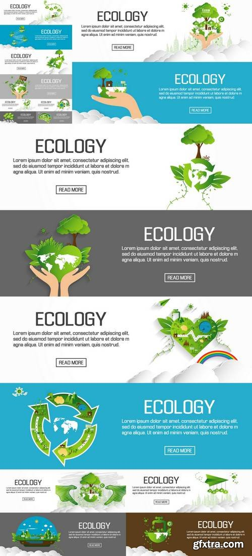 Flat Designed Banners for Ecology