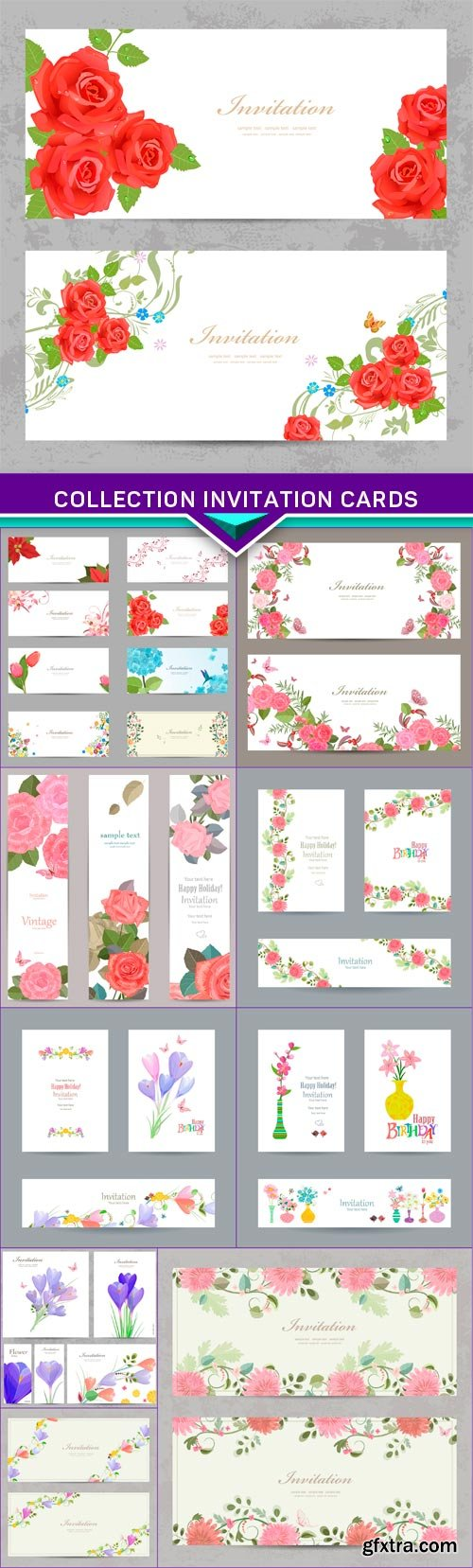 Collection invitation cards with flower for your design 10x EPS