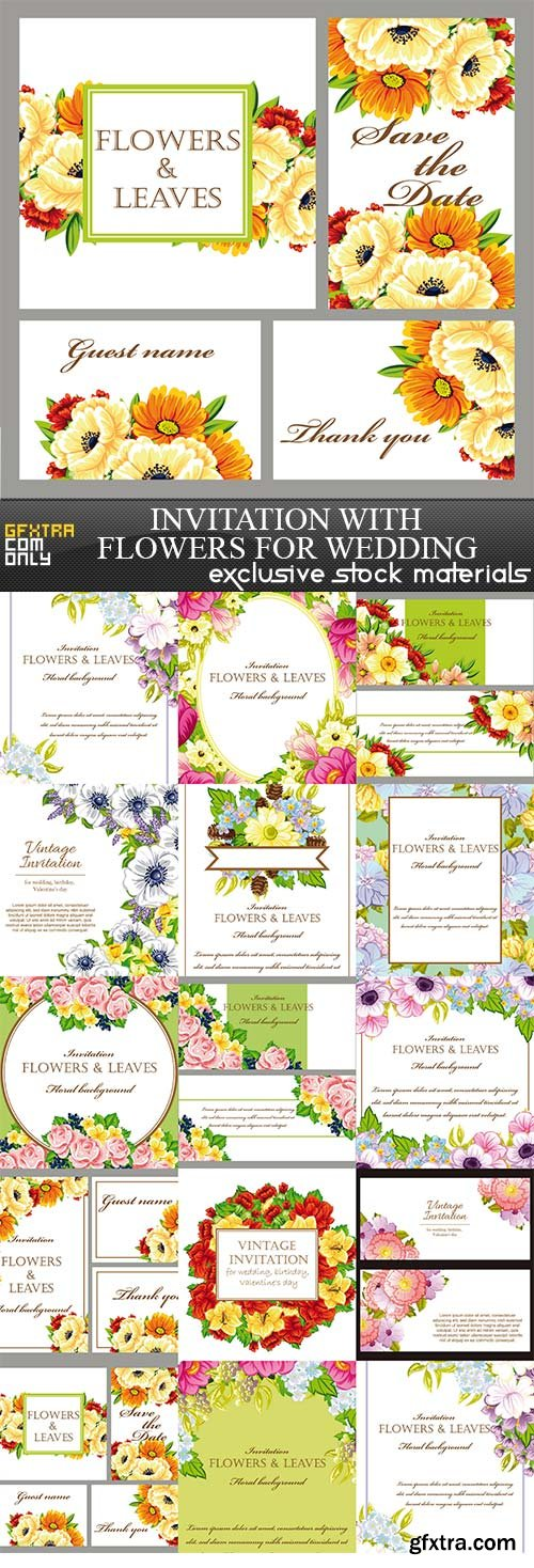 Invitation with flowers for wedding, 14 x EPS