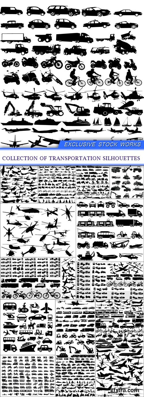 collection of transportation silhouettes 14X EPS