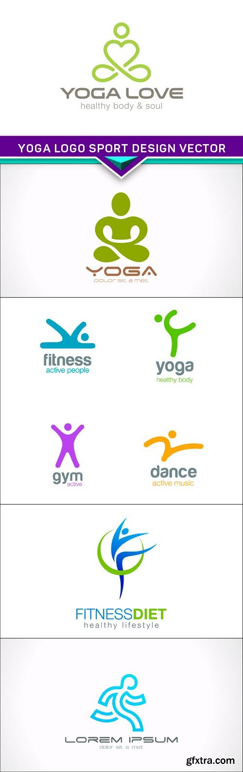 Yoga Logo sport design vector 5x EPS