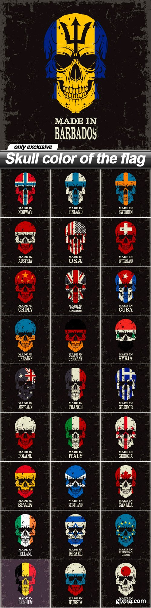 Skull color of the flag - 28 EPS