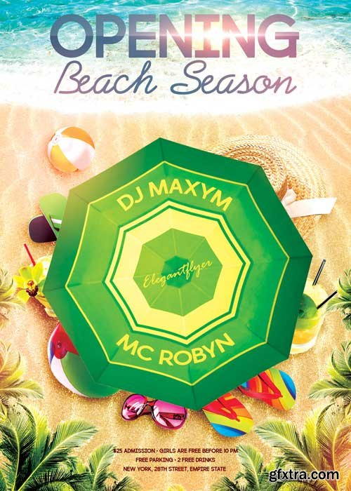 Opening Beach Season – Flyer PSD Template + Facebook Cover
