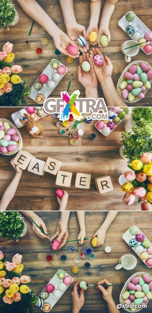 Stock Photo - Family Preparing for Easter