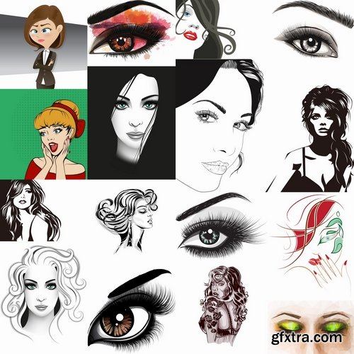 Collection of female face girl 25 EPS
