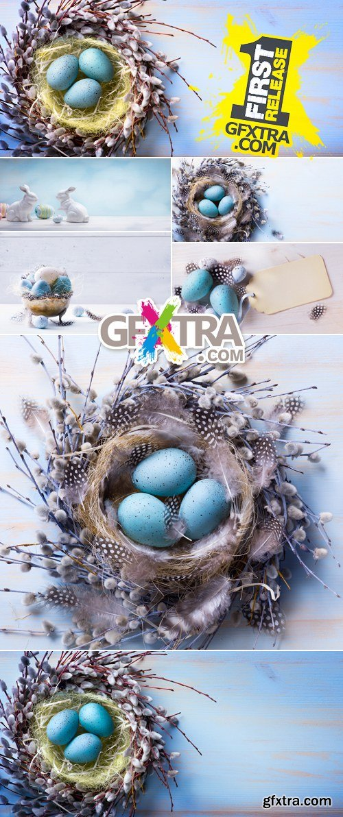 Stock Photo - Blue Easter Backgrounds