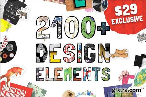 Exclusive Huge Bundle 2100+ Design Elements And 11 Fonts